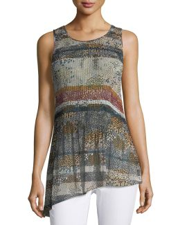 Graphic-print Pleated Top