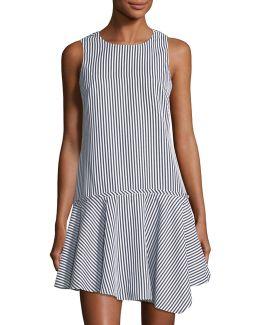 Drop-waist Striped Dress