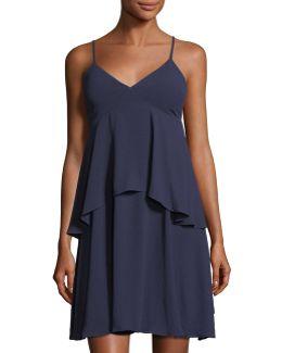 V-neck Sleeveless Empire-waist Layered Mini Dress