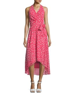 Sleeveless Surplice Polka-dot A-line Dress