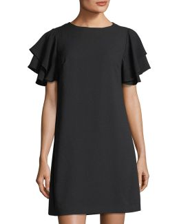 Flutter-sleeve Crepe Shift Dress