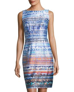 Sleeveless Graphic-print Sheath Dress