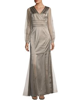 V-neck Satin Gown W/ Chiffon Sleeves