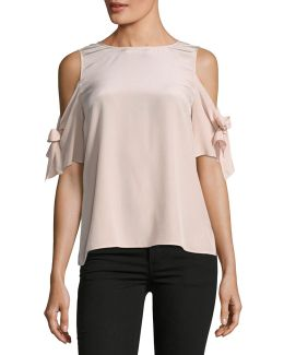 Cold-shoulder Silk Blouse