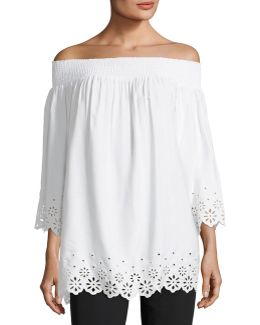Eyelet-trim Off-the-shoulder Blouse