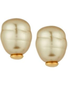 14mm Champagne Baroque Simulated Pearl Button Earrings