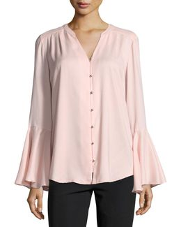 Georgette Bell-sleeve Blouse
