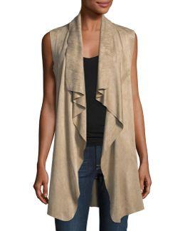 Faux-suede Open-front Vest