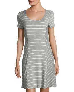 Scoop-neck Short-sleeve Striped Jersey Dress