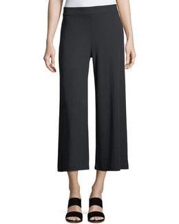 Wide-leg Ribbed Jersey Pull-on Pants