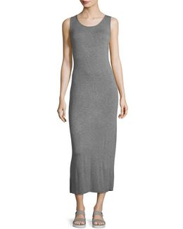 Scoop-neck Twist-back Sleeveless Jersey Midi Dress