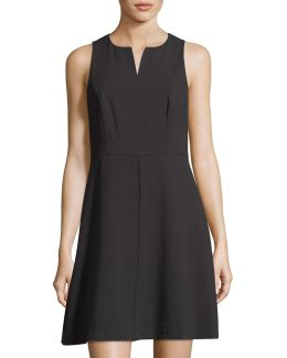 Split-neck Sleeveless Crepe A-line Dress