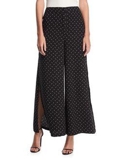 Split-side Dot-print Pants