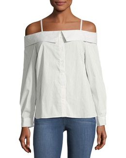 Striped Poplin Off-the-shoulder Shirt