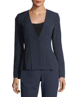 Pleated Crepe Suiting Jacket