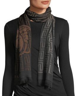 Giant Maze-pattern Wool Scarf