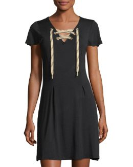 Short-sleeve Lace-up Dress