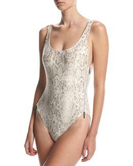 U-back Side-zip One-piece Swimsuit