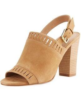 Cutout Suede Slingback Sandal