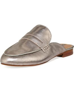 Flora Metallic Leather Penny Loafer Mule