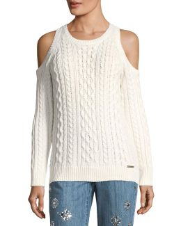 Cold-shoulder Cable-knit Sweater