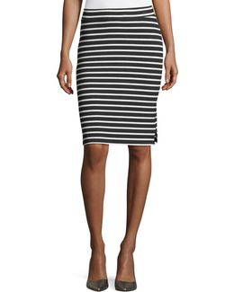 Striped Rib-knit Pencil Skirt