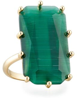 Emerald-cut Glass Cocktail Ring