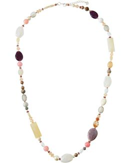 Long Mixed Semiprecious Gemstone & Pearl Beaded Necklace