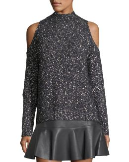 Open-shoulder Tweedy-knit Pullover
