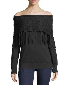 Off-the-shoulder Fringe Sweater