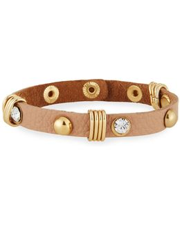 Studded Leather Cuff Bracelet W/ Crystals