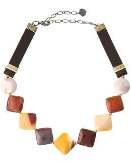 Jasper & Leather Square Beaded Choker Necklace