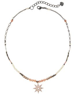Beaded Pave North Star Pendant Necklace