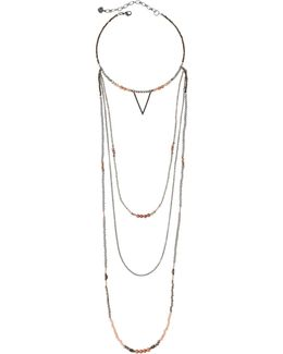 Beaded Multi-strand Choker Necklace W/ Triangle Charm