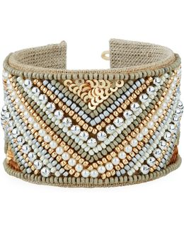 Wide Beaded Chevron Cuff Bracelet