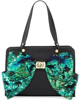 Bow Regard Sequin Satchel Bag