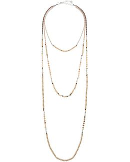 Long Triple-strand Beaded Necklace