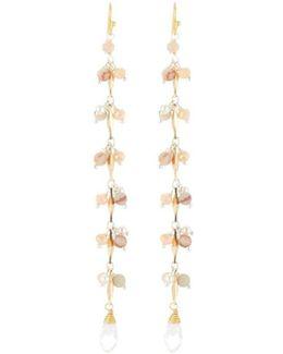 Long Agate & Pearl Dangle Earrings