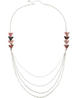 Long Multi-strand Chevron Beaded Necklace