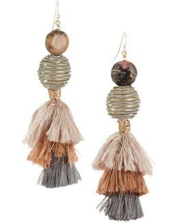 Beaded & Tasseled Drop Earrings