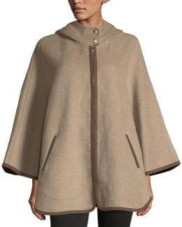 Hooded Double-face Zip-front Cape
