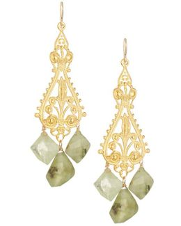 Ornate Filigree Drop Earrings W/ Green Garnets