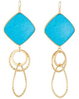 Large Turquoise Bezel Link Drop Earrings