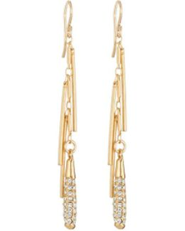 Diamond Illusion Pave Crystal Fringe Dangle Earrings