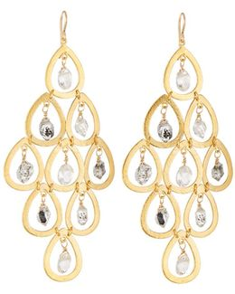 Quartz & Moonstone Chandelier Earrings