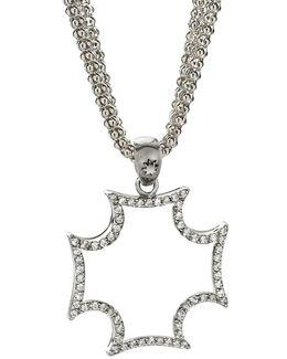Silver Sapphire Maltese Cross Pendant Necklace