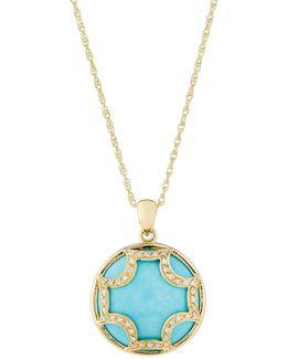 18k Maltese Turquoise & Diamond Pendant Necklace