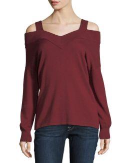 Cold-shoulder V-neck Top