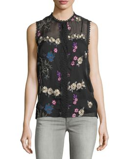Sleeveless Floral-embroidered Blouse