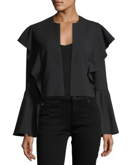 Bell-sleeve Flutter-trim Crop Jacket